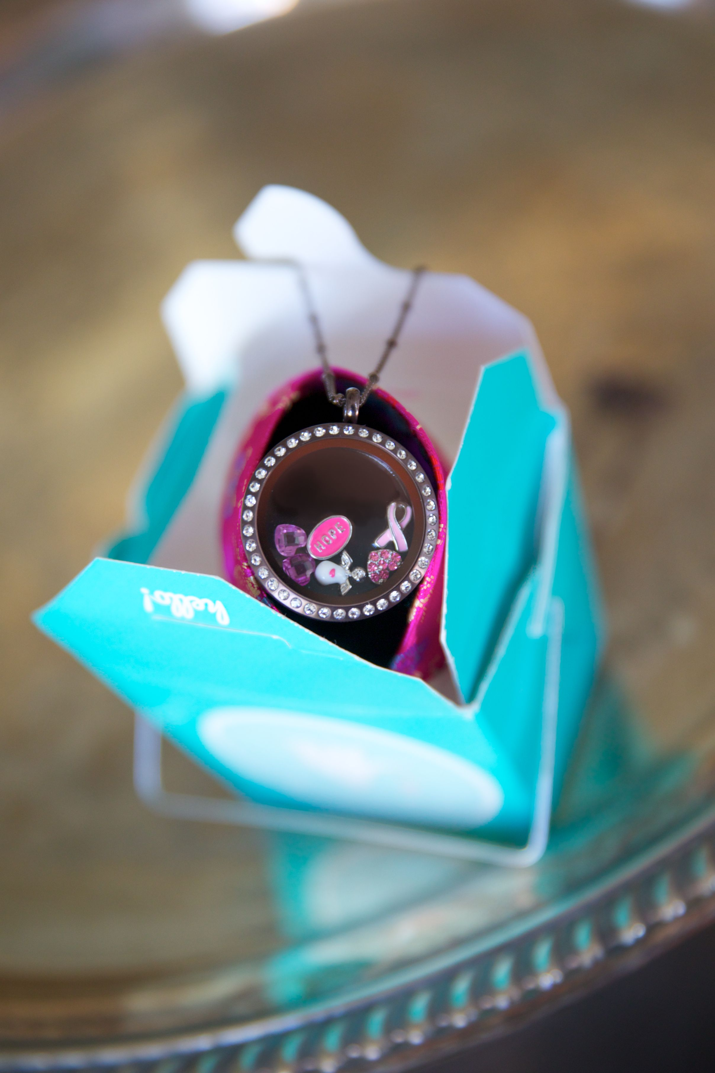 origami owl chocolate locket and breast cancer charms