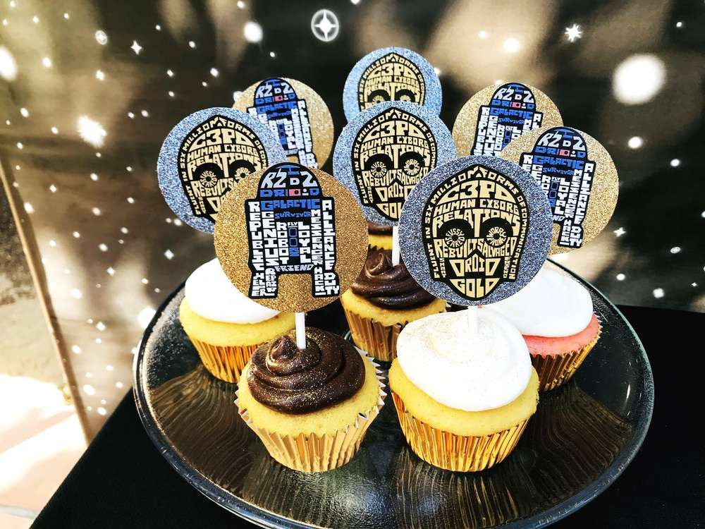 The cupcakes at this Star Wars Birthday Party are fantastic! Love the R2D2 and C3PO toppers!! See more party ideas and share yours at CatchMyParty.com #catchmyparty #cupcakes #starwars #party
