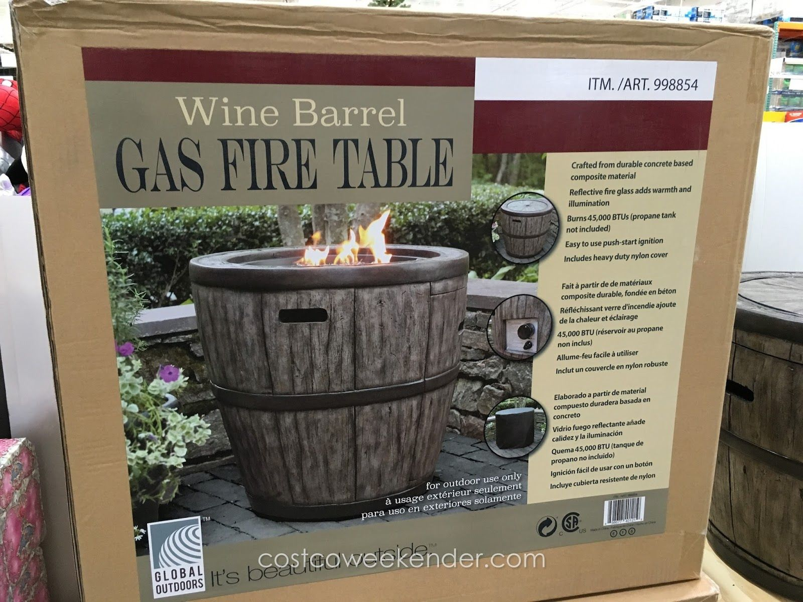 global outdoors wine barrel gas fire table at costco outdoor