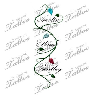Tattoos With Three Kids Names In It Children S Name With Vine