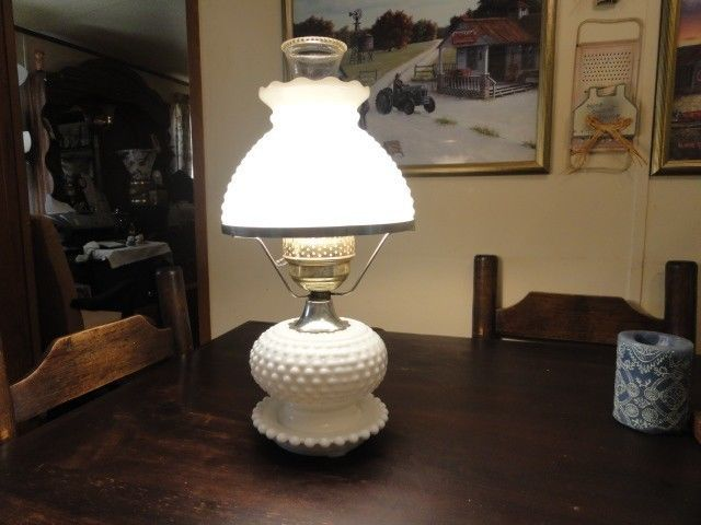 "Antique Fenton Milk Glass Hobnail, ""Gone With The Wind"" Lamp #Americana #Fenton"