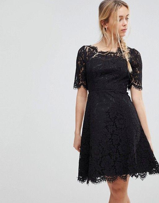 Lace Skater Dress - Black Glamorous T4OSgMK