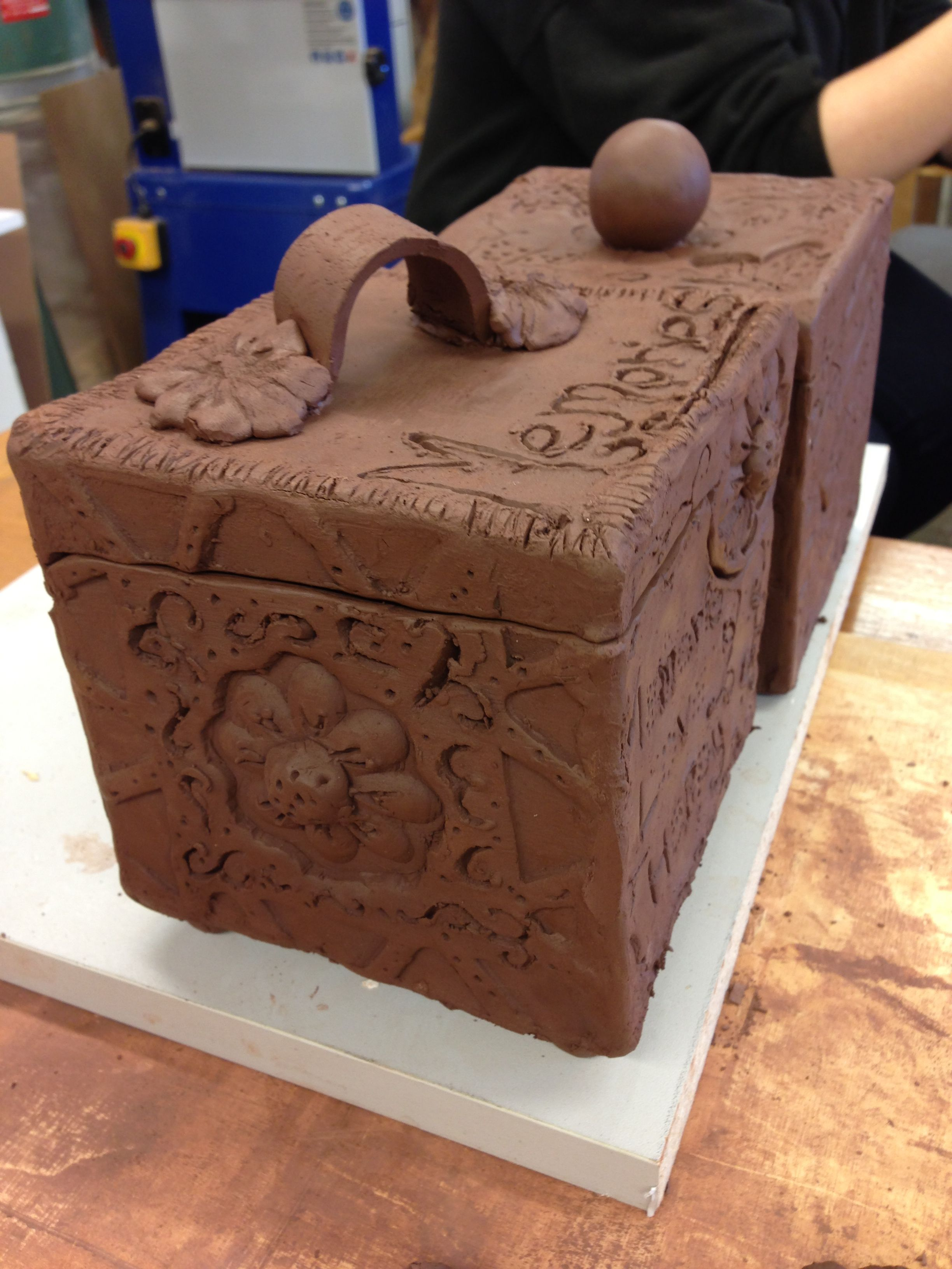 My first memory box made out of slab pottery Cool