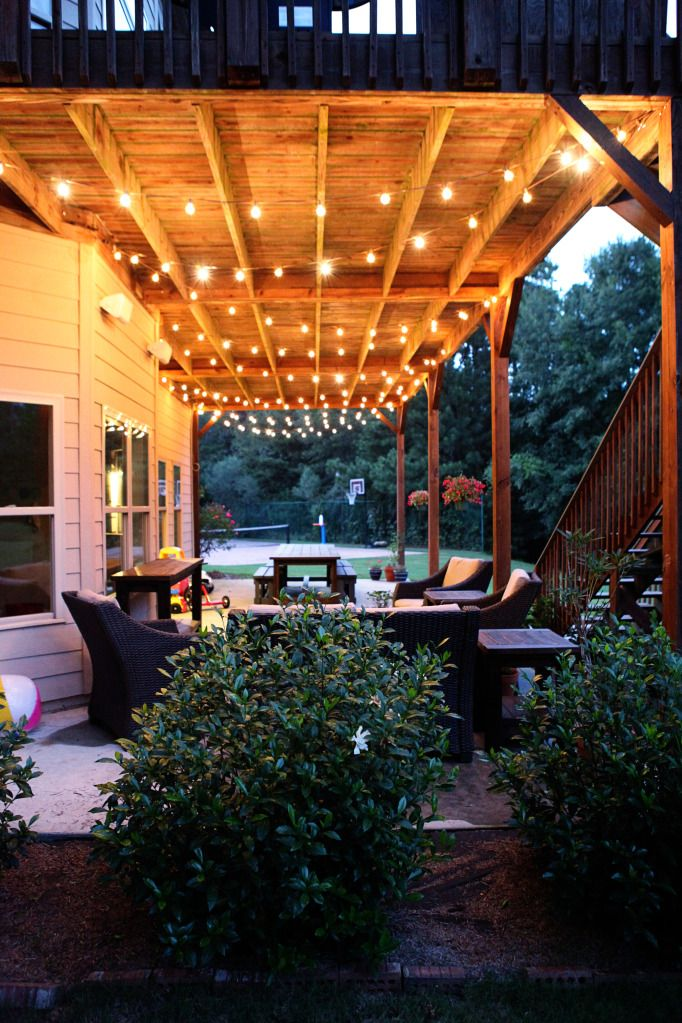 How To Hang String Lights On Covered Patio New Swag & Chainlink  Patios Bulbs And Spaces Decorating Design