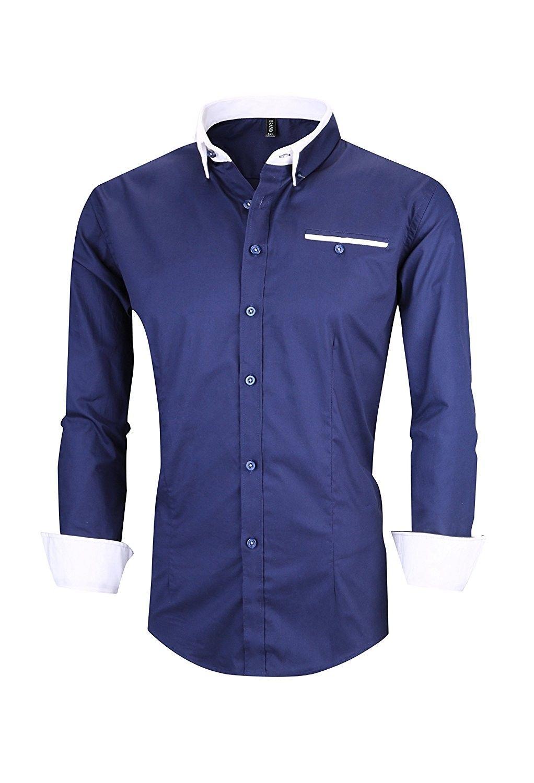 Jzoeoeu Mens Dress Shirt Cotton Casual Regular Fit Long Sleeve Button Down Shirt 4dark Blue Ch186t66ade Mens Shirt Dress Stylish Dress Shirts Shirt Dress [ 1500 x 1022 Pixel ]