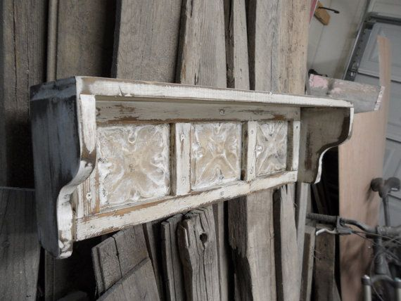 Primitive wall shelf, shabby chic wall shelf, french country wall shelf, cottage decor, antique ceiling tins