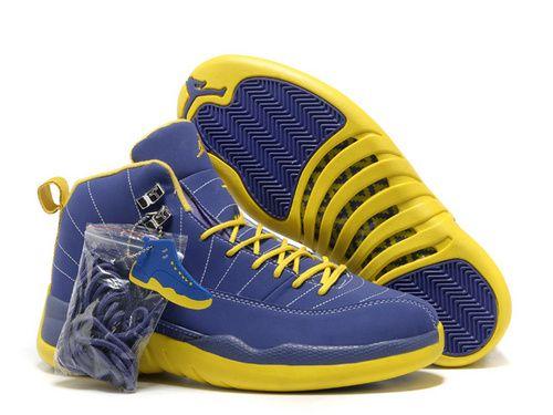 82536c12dae1e0 Men Air Jordan AJ12 Jordan retro 12 Basketball Shoes Blue Yellow ...