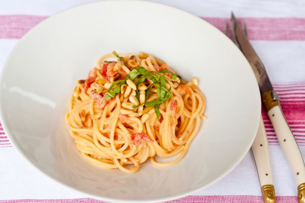 paghetti with creamy tomato-lemon sauce with Philly on eatlivetravelwrite.com