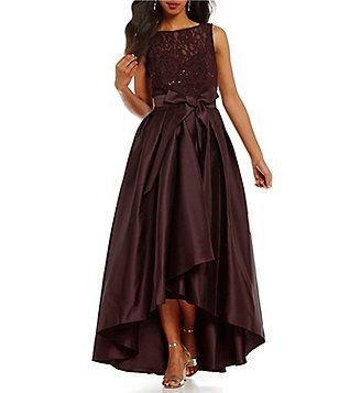 fbf1061de9 Ignite Evenings Belted Lace Mikado Hi-Low Dress