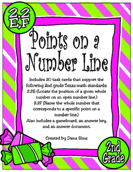 Includes 20 task cards that support the following 2nd grade Texas math standards:2.2E (Locate the position of a given whole number on an open number line.)2.2F (Name the whole number that corresponds to a specific point on a number line.)Also includes a gameboard, an answer key, and an answer document.