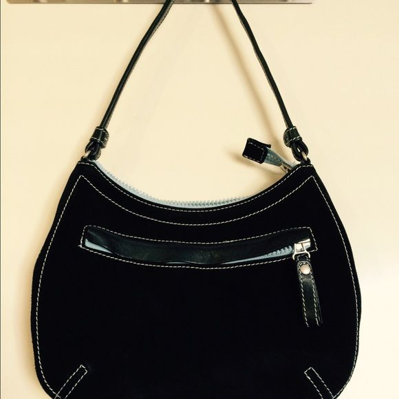 """Cole Haan black suede handbag. Cute little Cole Haan black suede bag. I've had this for years and it's been used very little. It's in great shape, very clean. Black suede with light blue trim. Dimensions: 10""""w x 7""""h strap drop 9"""". Cole Haan Bags Mini Bags"""
