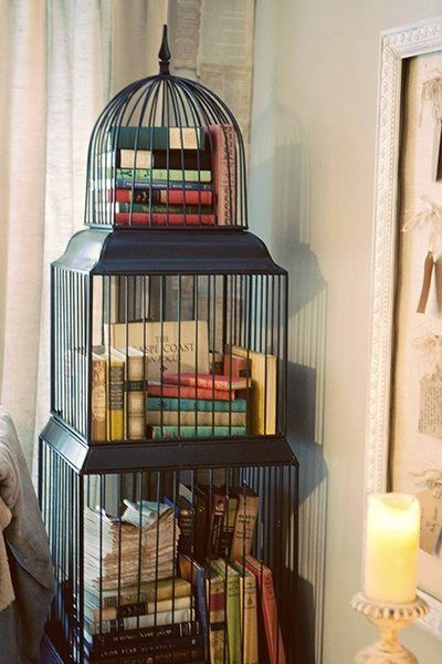 repurposed as a bookcase cage d oiseau pinterest repurposed books and bird cages. Black Bedroom Furniture Sets. Home Design Ideas