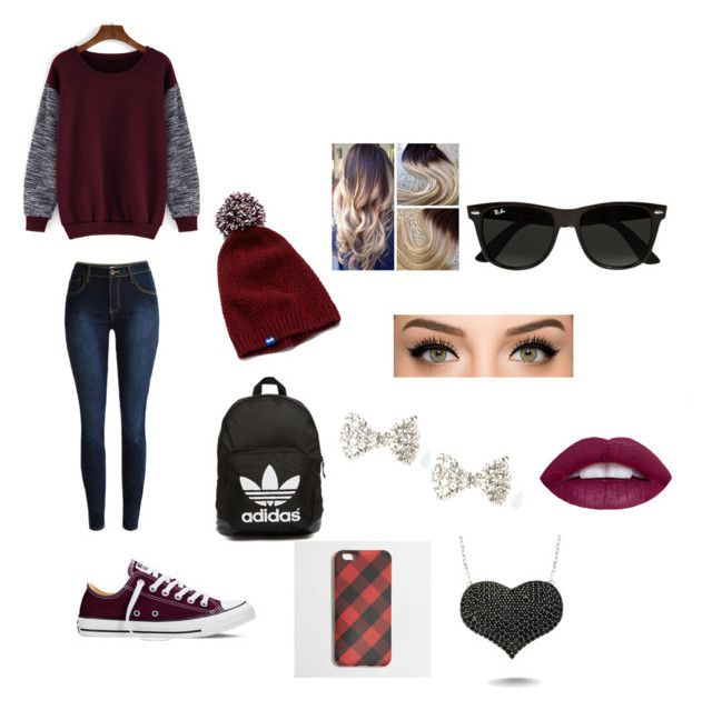 """Maroon"" by pandabearcc ❤ liked on Polyvore featuring Converse, adidas Originals, Keds, J.Crew, Amorium, Ray-Ban, women's clothing, women's fashion, women and female"