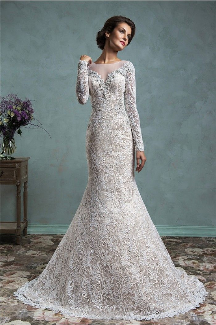 Vintage Mermaid Illusion Neckline Sheer Back Long Sleeve Lace Wedding Dress