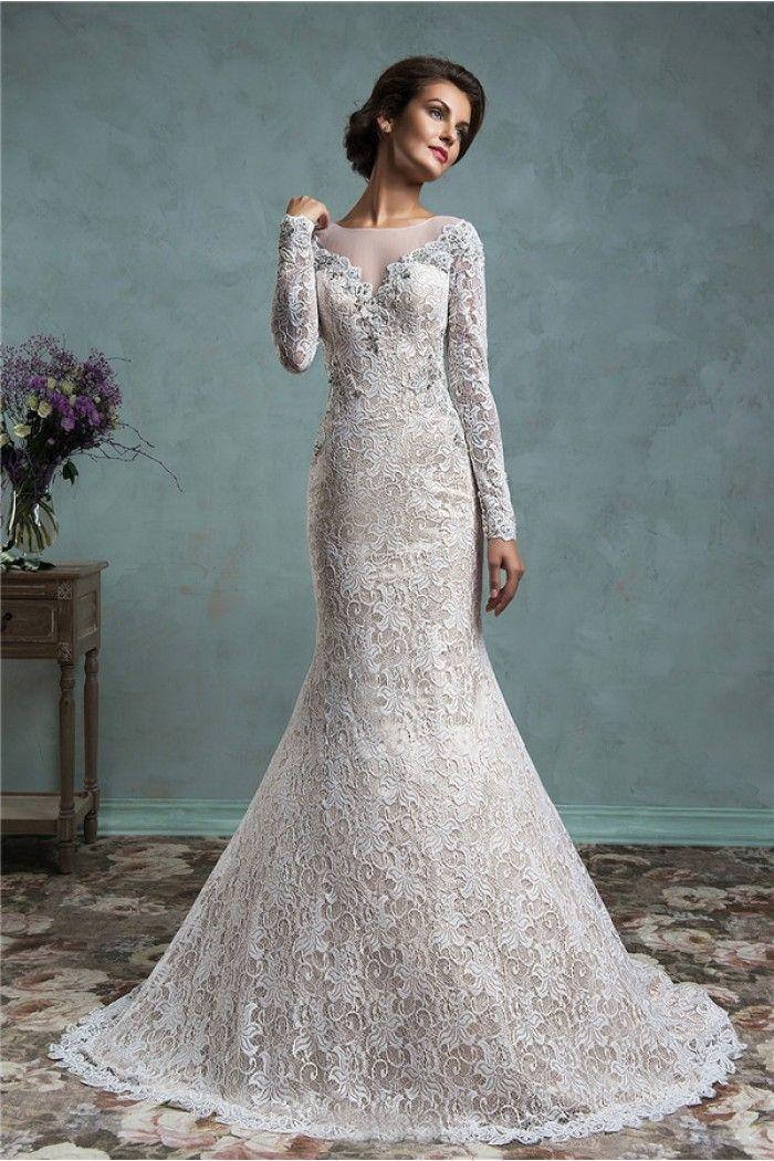 Vintage Mermaid Illusion Neckline Sheer Back Long Sleeve Lace Wedding Dress