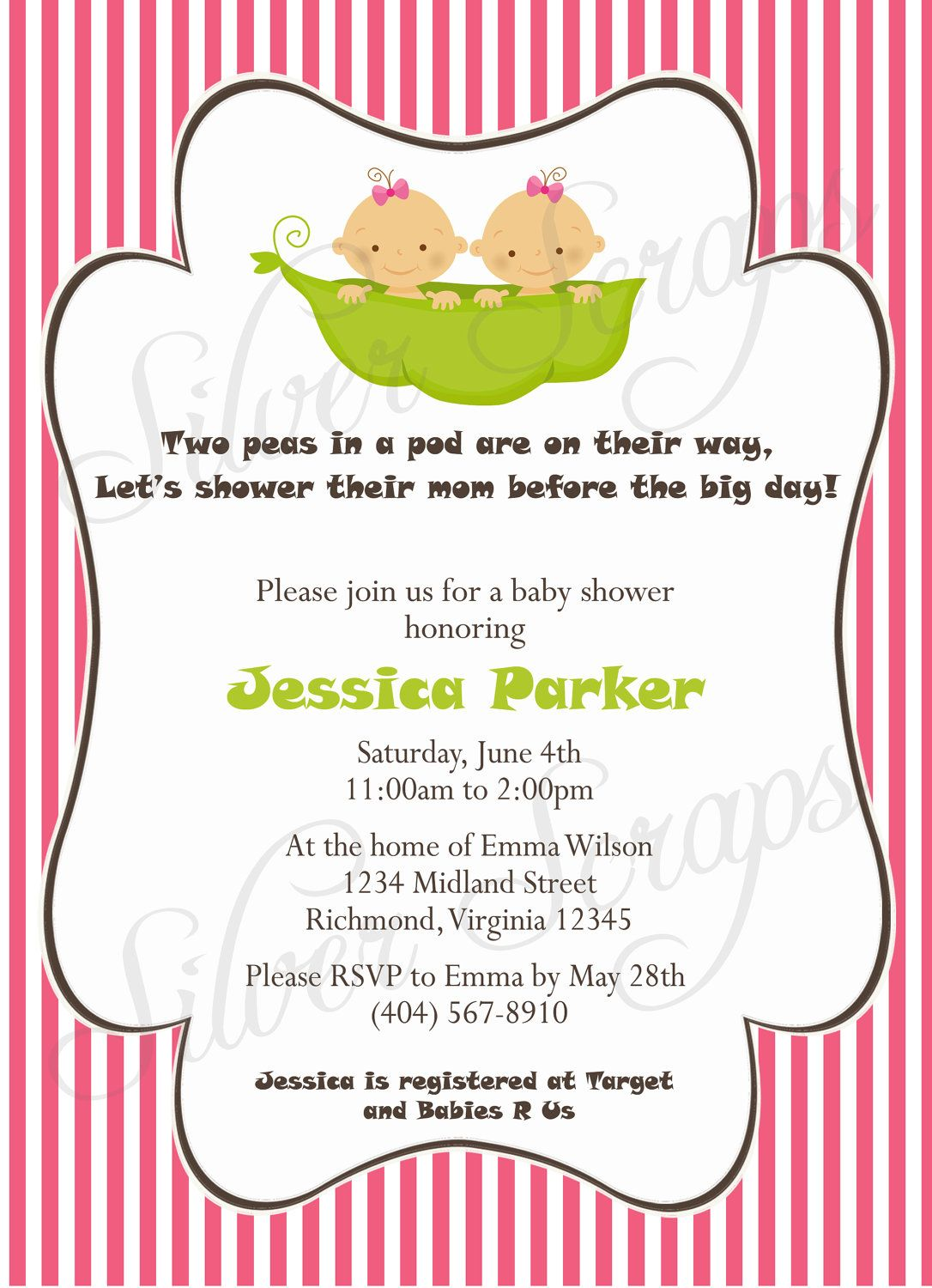 Two Peas in a Pod - Custom Digital Baby Shower Invitation - Twin ...