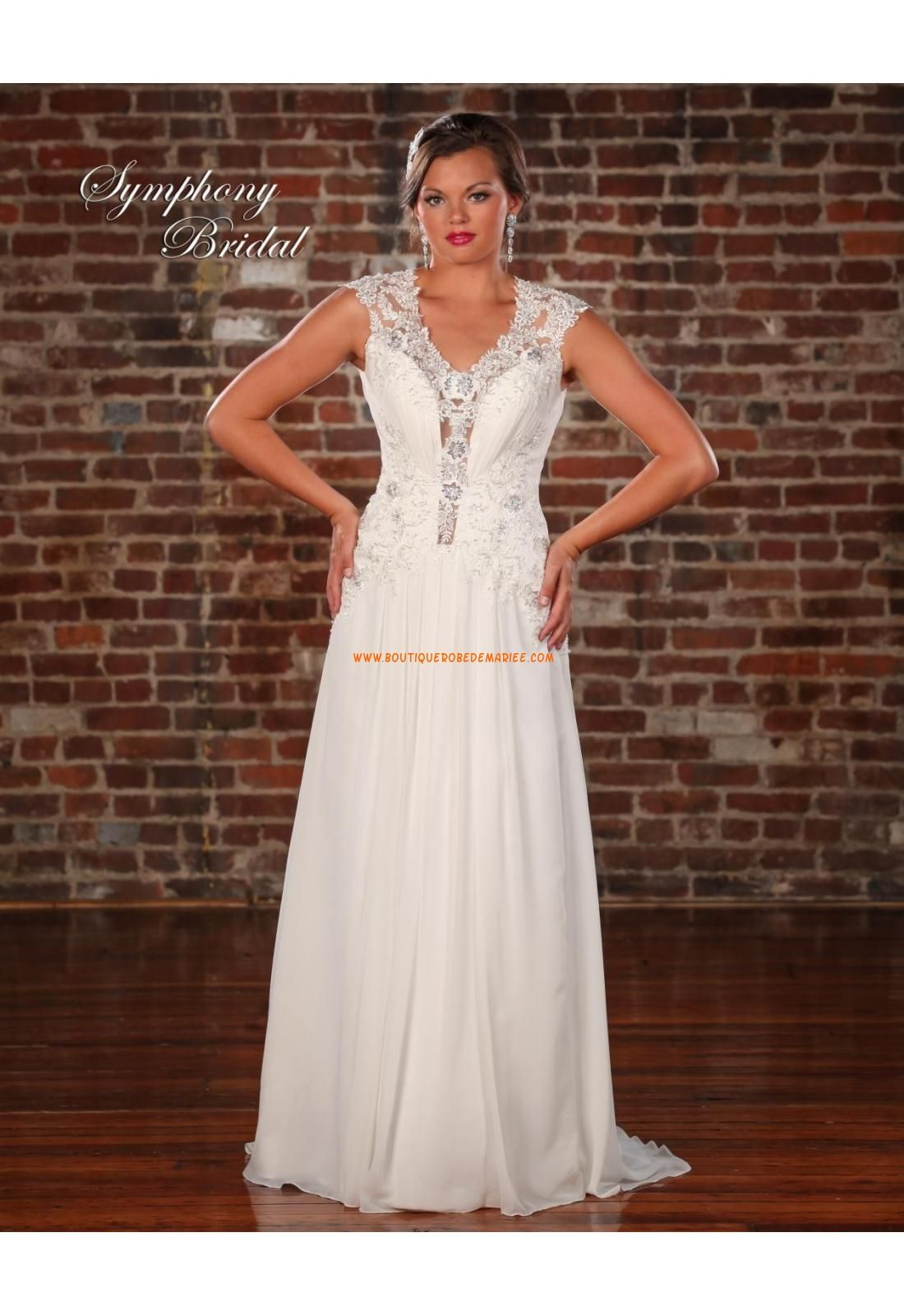Robe de mariée empire mousseline traine courte luxurious col en v