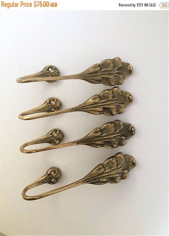 On Sale Vintage Brass Curtain Tiebacks Decorative Brass Antiques