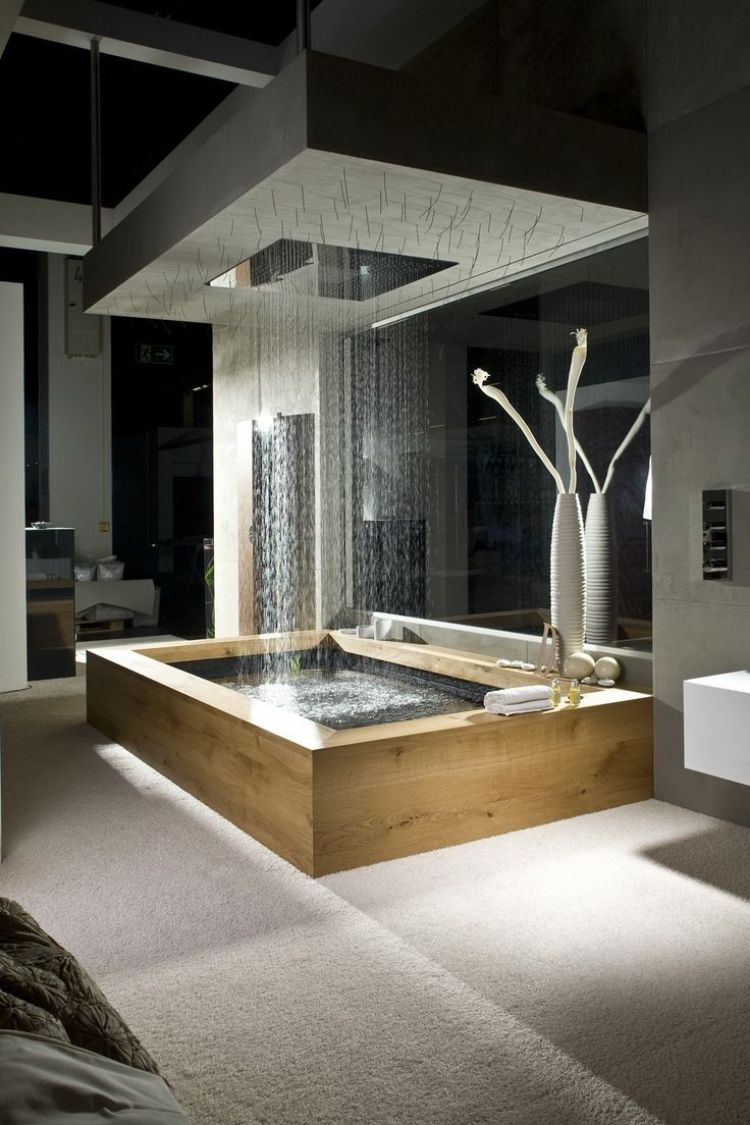 master bathroom ideas with rainfall shower head and banth ...