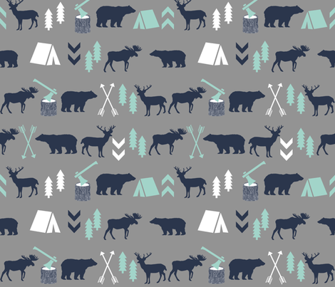 woodland camping forest fabric by charlottewinter on Spoonflower - custom fabric