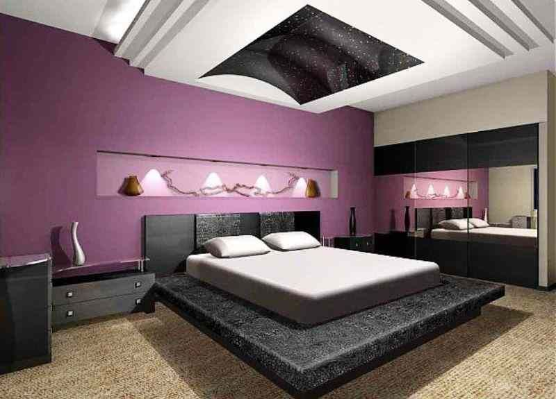 Purple And Gray Bedroom Styles Ideas Interior Modern Attic Bedroom With Purple Wall Painting And Stone Base Of The Bedding Set Lovely Styles Interiors Of