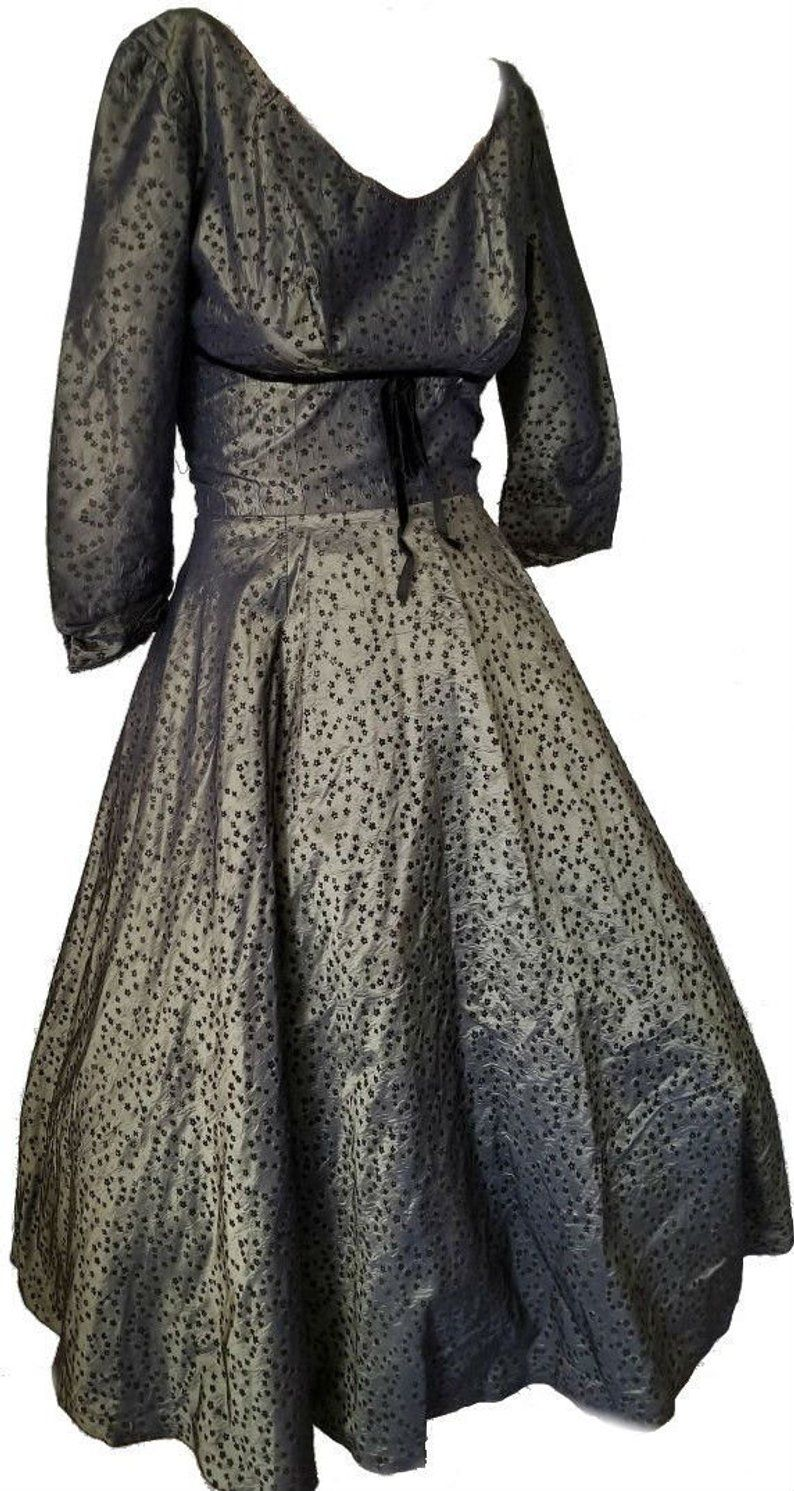 Vintage 1950 S Party Dress 1960 S Green Black Flocking Etsy 1950s Party Dresses Formal Dance Dresses Party Dress [ 1491 x 794 Pixel ]