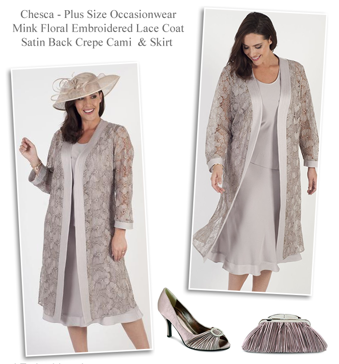 Chesca Mink Lace Occasion Coat With Satin Back Camisole And Matching Bias Cut Skirt Mother Of
