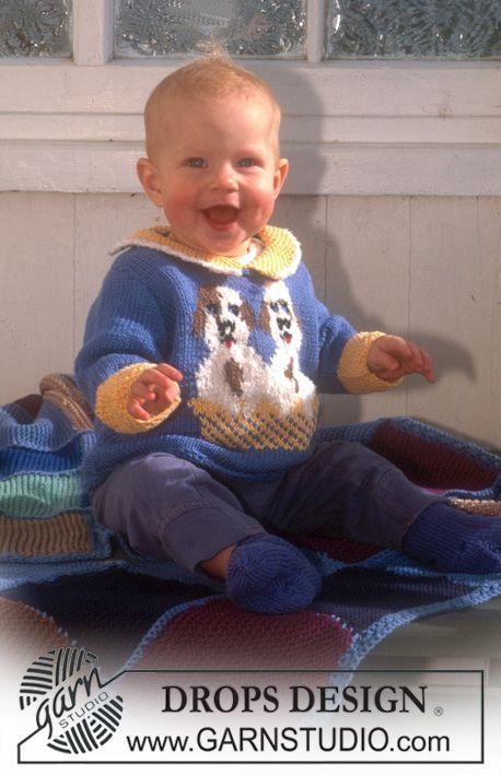 Drops Baby 6 20 Trui Van Muskat Met Hondjes Deken In Karisma Superwash Of Muskat Van Vierkanten Breien Voor Baby S Baby Knitting Patterns Baby Patronen