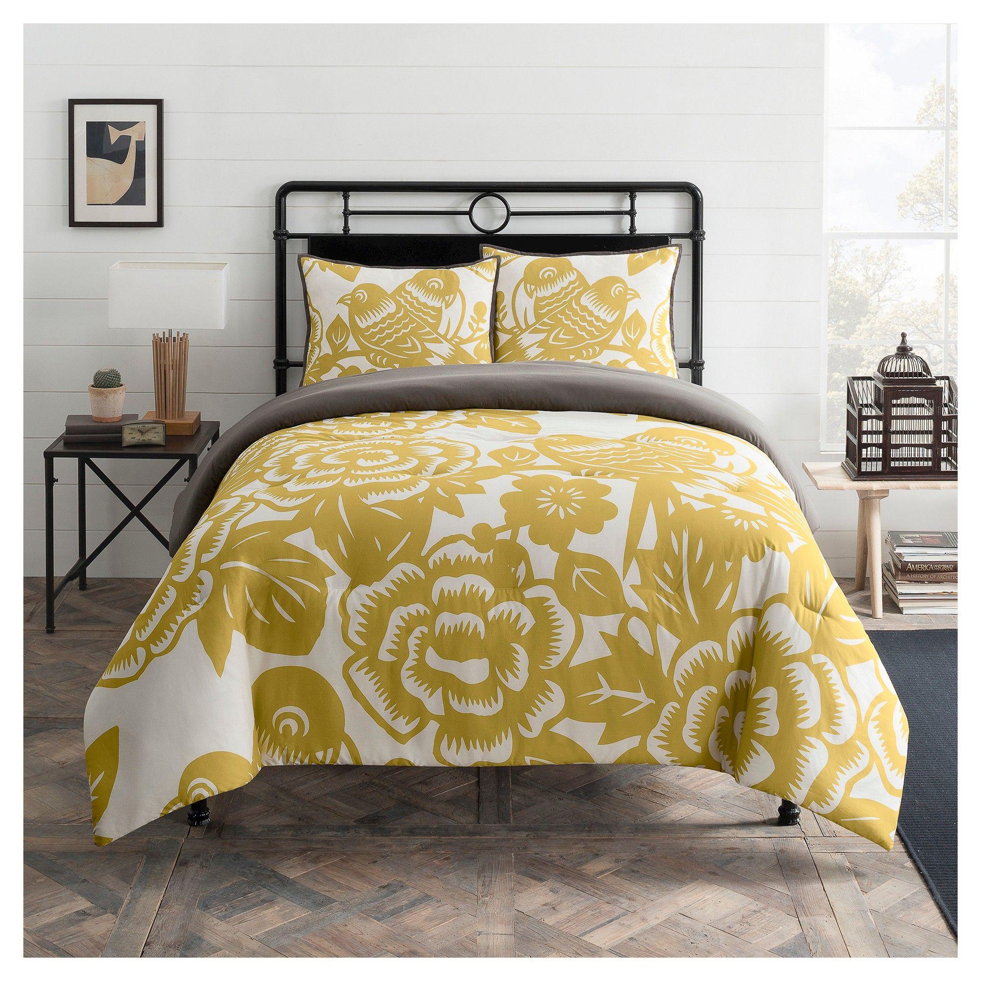 Seedling By Thomaspaul Aviary Floral Print Comforter Set Mustard