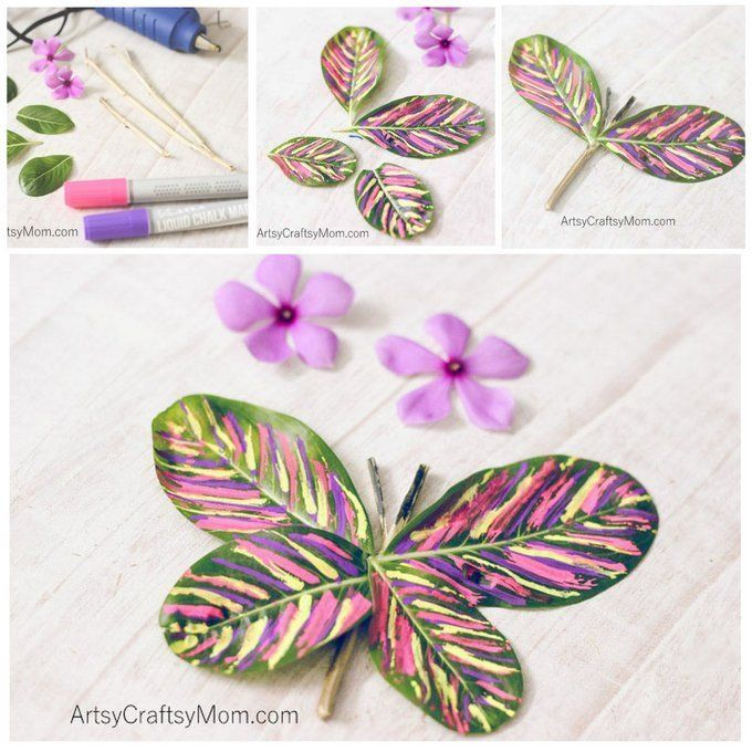 Stick and Leaf Butterfly Nature Craft - Artsy Craftsy Mom
