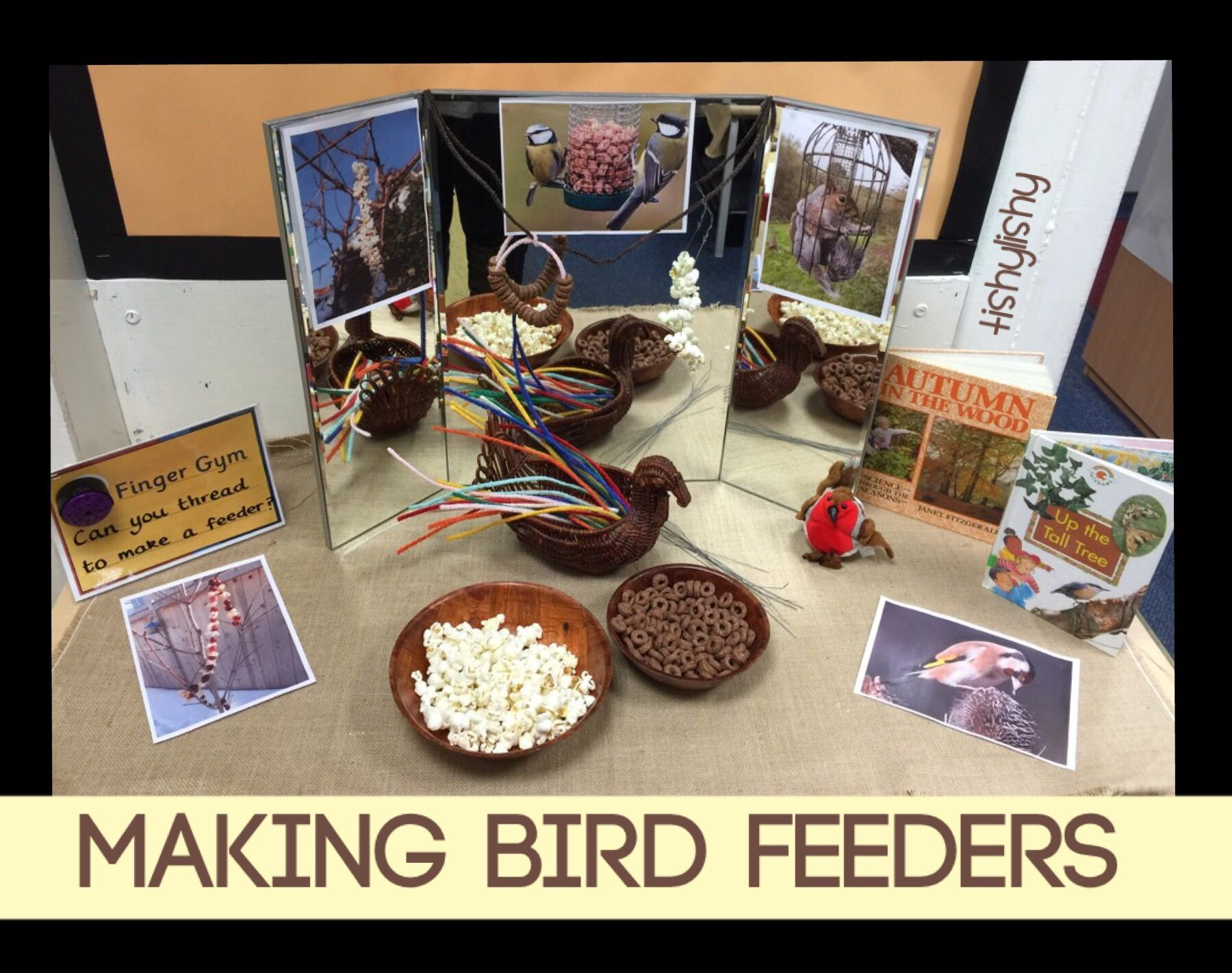 Make a bird feeder with popcorn and cereal birds for Funky nursery ideas