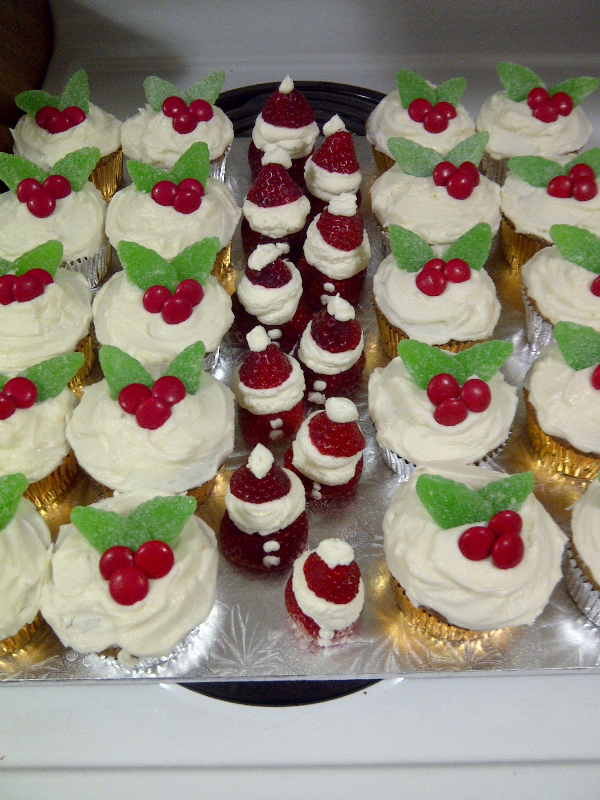 Christmas cupcakes with strawberry Santas