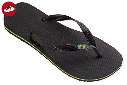 Havaianas Flip Flop/Thong/Sandal Brasil Logo, für Damen und Herren. Unisex. Schwarz. 43/44 EU