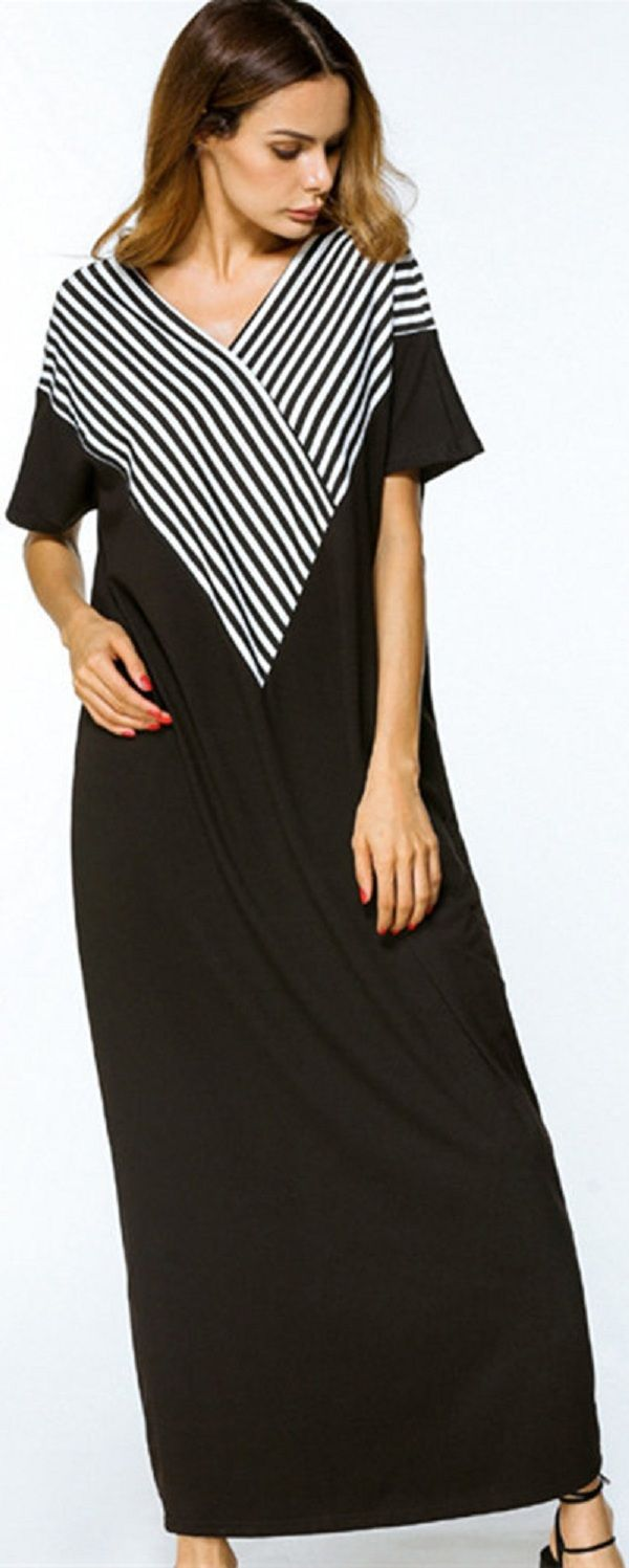 Us women stripe vneck short sleeve loose long maxi dresses