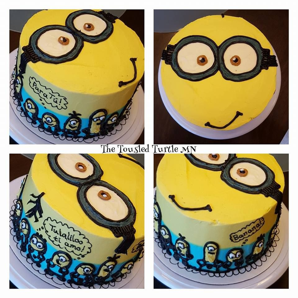 Minions cake Kevin style Banana flavored buttercream frosting for a