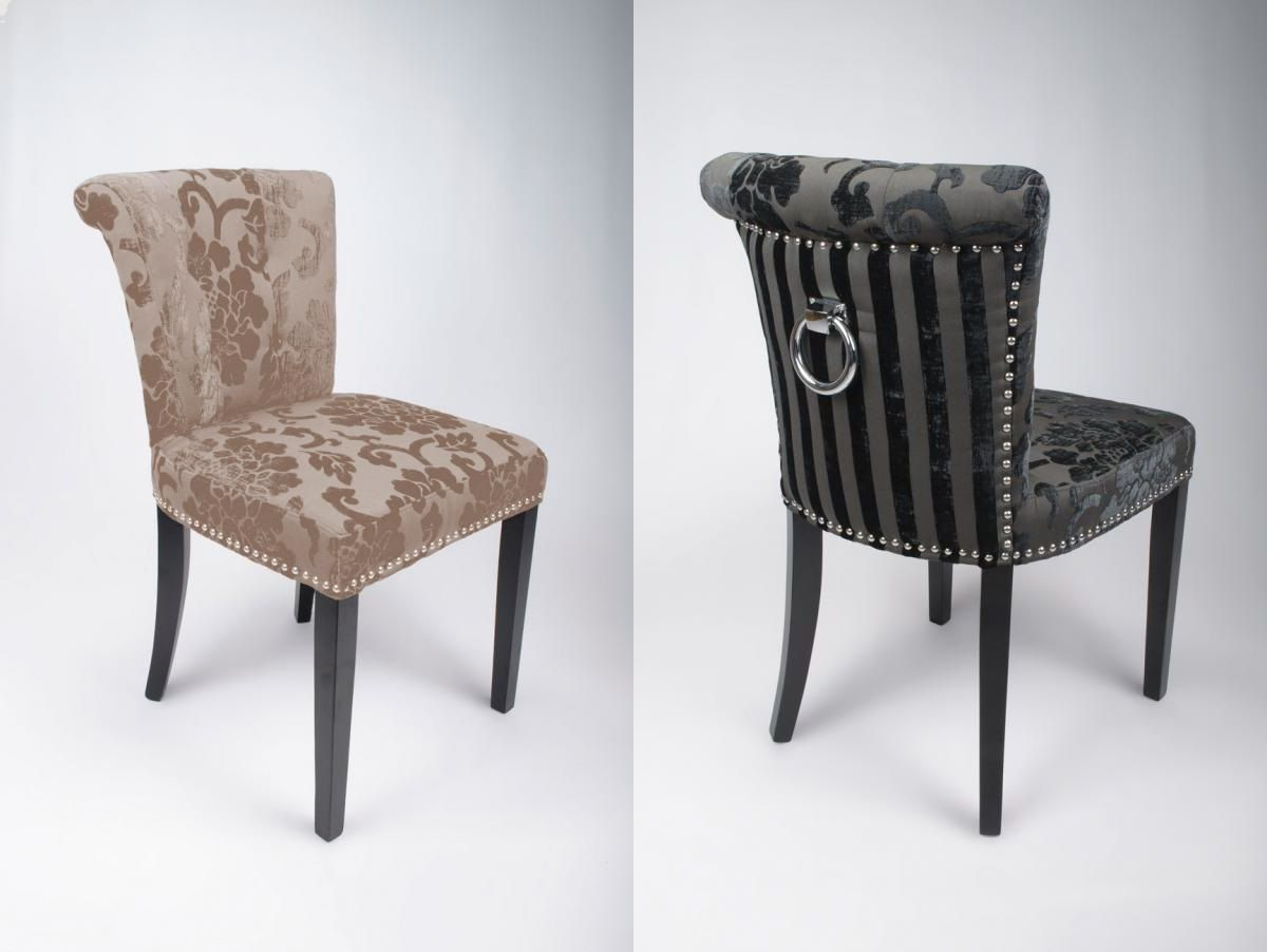 Sandringham Stripe Scroll Knocker Dining Chairs Knockerchairs