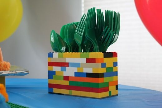 Lego party ideas---silverware holder made from Legos party-time