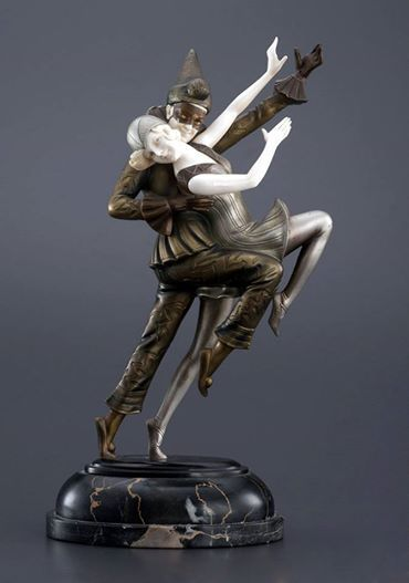 """""""Carnival Couple"""" an Art Deco bronze and ivory sculpture by Ferdinand Preiss, Germany 1930s."""