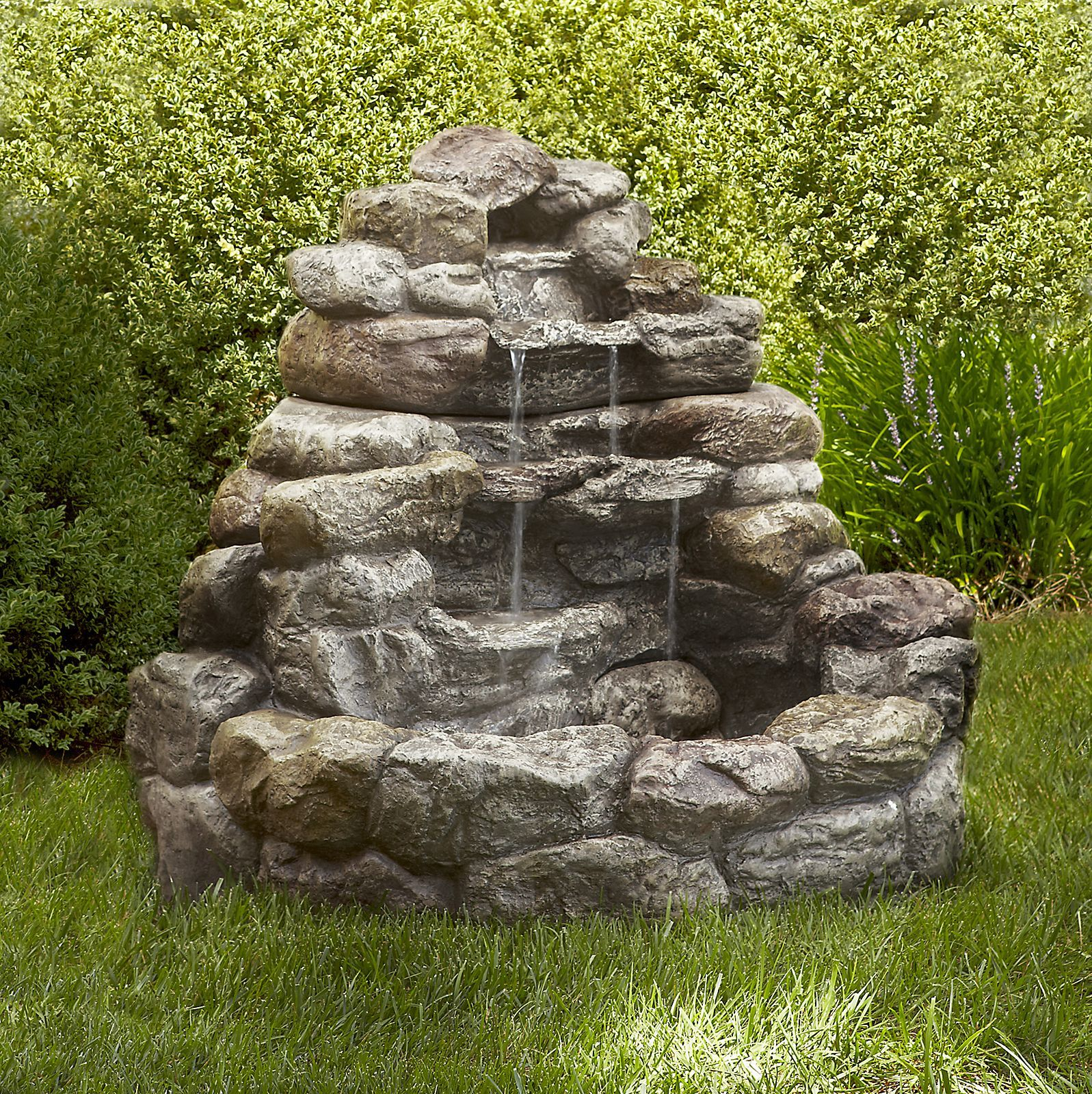 Tiered Stone Water Fountain For Minimalist Outdoor Garden Design