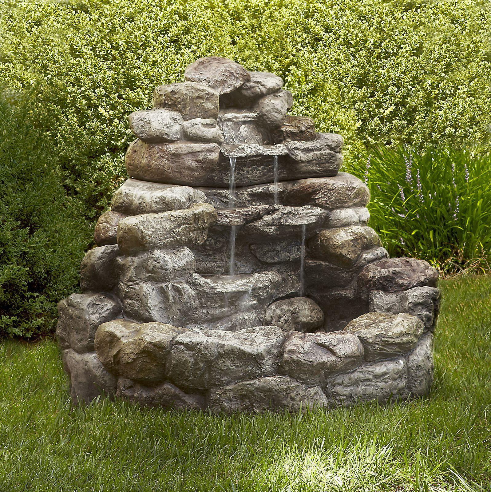Tiered Stone Water Fountain For Minimalist Outdoor Garden Design ...