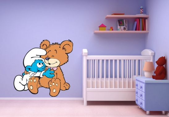 Wall Stickers Baby Smurf With Teddy The Smurfs Shop Wall Art