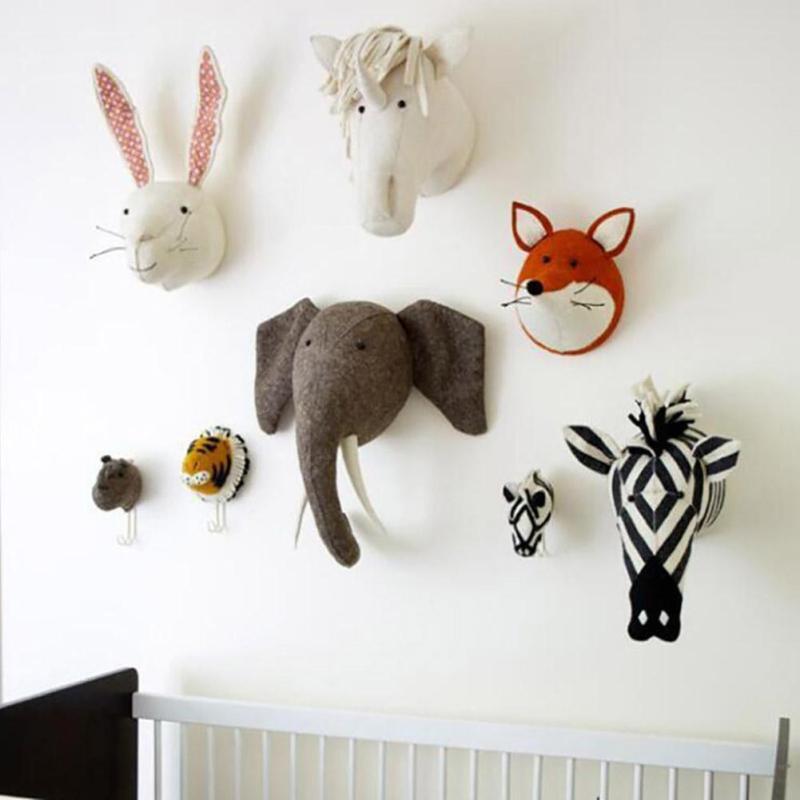 Felt Animal Head Kids Room Wall Decor Animal Heads Kids Room