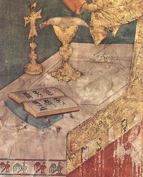 SIMONE MARTINI o Simone Senese (Siena, 1284 circa – Avignone, 1344) - Miraculous Mass c. 1320-1325 detail