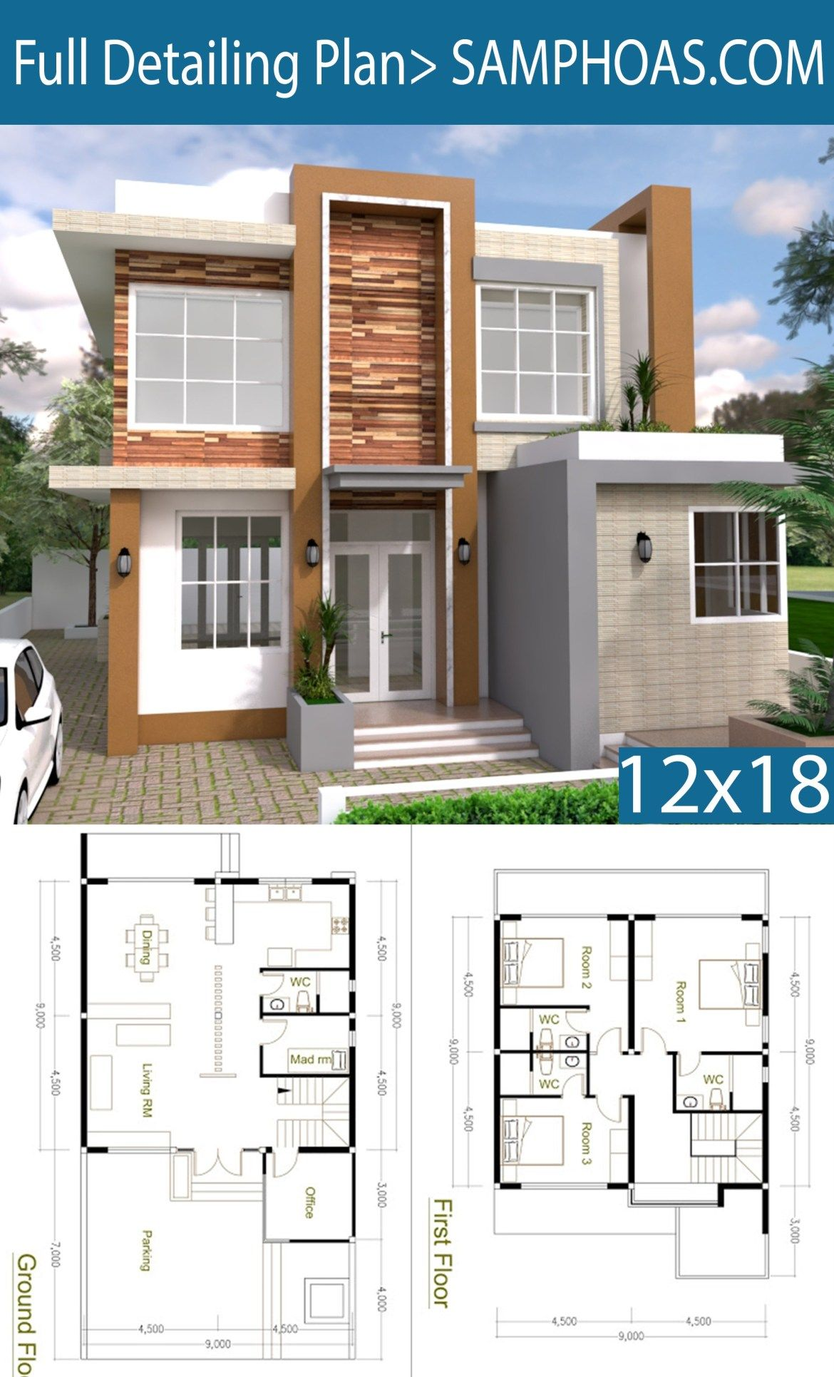 4 Bedrooms Home Design Plan 9x9m Samphoas Plansearch Model House Plan Home Building Design Two Story House Design