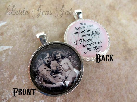 b0781823574 Wedding Bouquet Photo Memorial Charm - Double Sided Pendant - Custom ...
