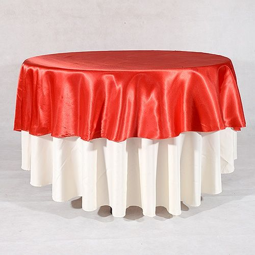 Red round tablecloths wedding images