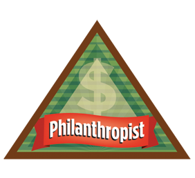 BROWNIE PHILANTHROPIST BADGE   1. Learn what every person needs 2. Investigate how to help people who are hungry 3. Find out how to help people who need clothing 4. Know how to help in times of emergency 5. Think -- and act! -- like a philanthropist