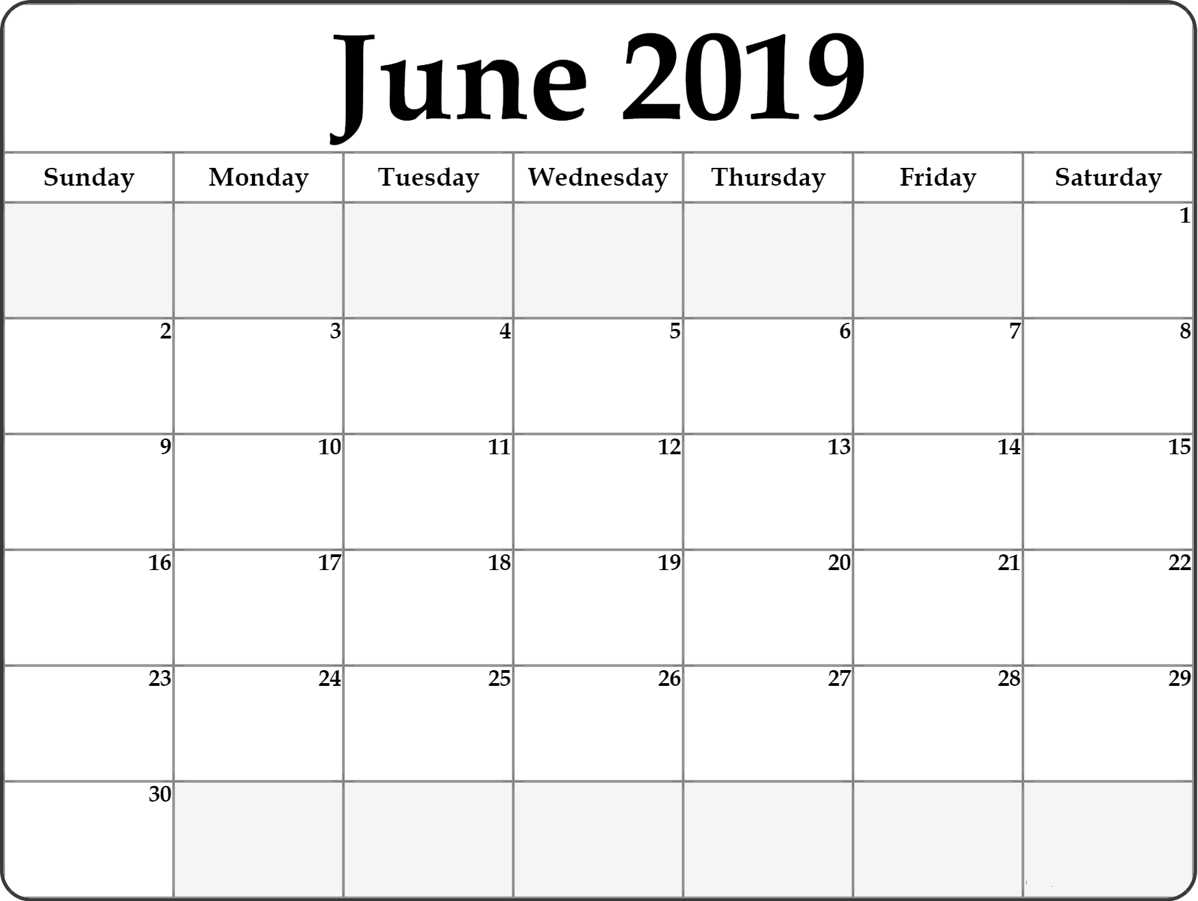 graphic about Printable June Calendars identified as Absolutely free Printable June 2019 Calendar #portrait June 2019