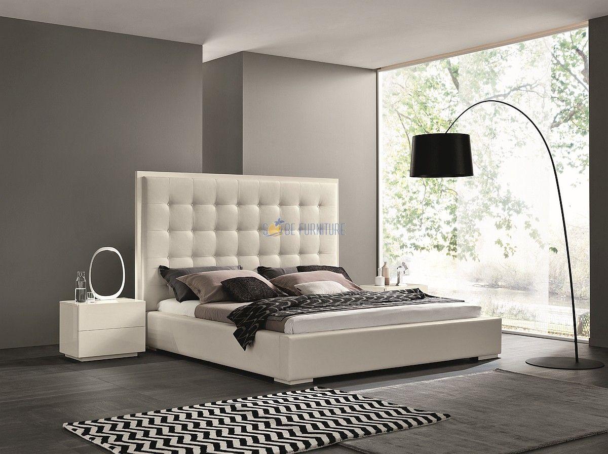 Luigi Snow White Italian Platform Bed Sobe furniture