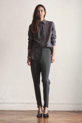 Double collar blouse grey
